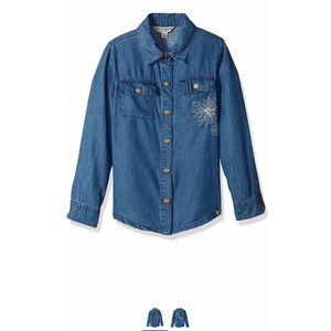 Girl's Long Sleeve Embroidered Denim Shirt 3T